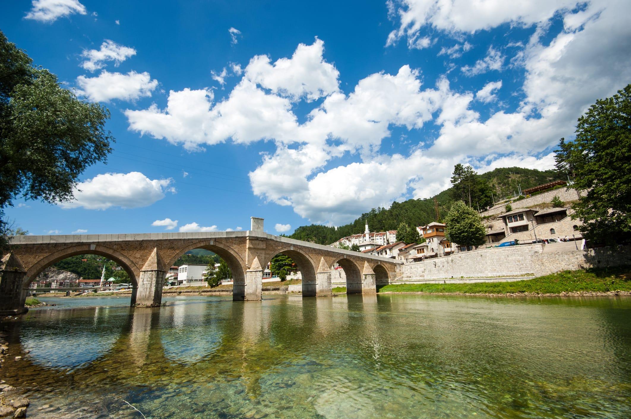 old bridge on neretva in Konjic, bosnia
