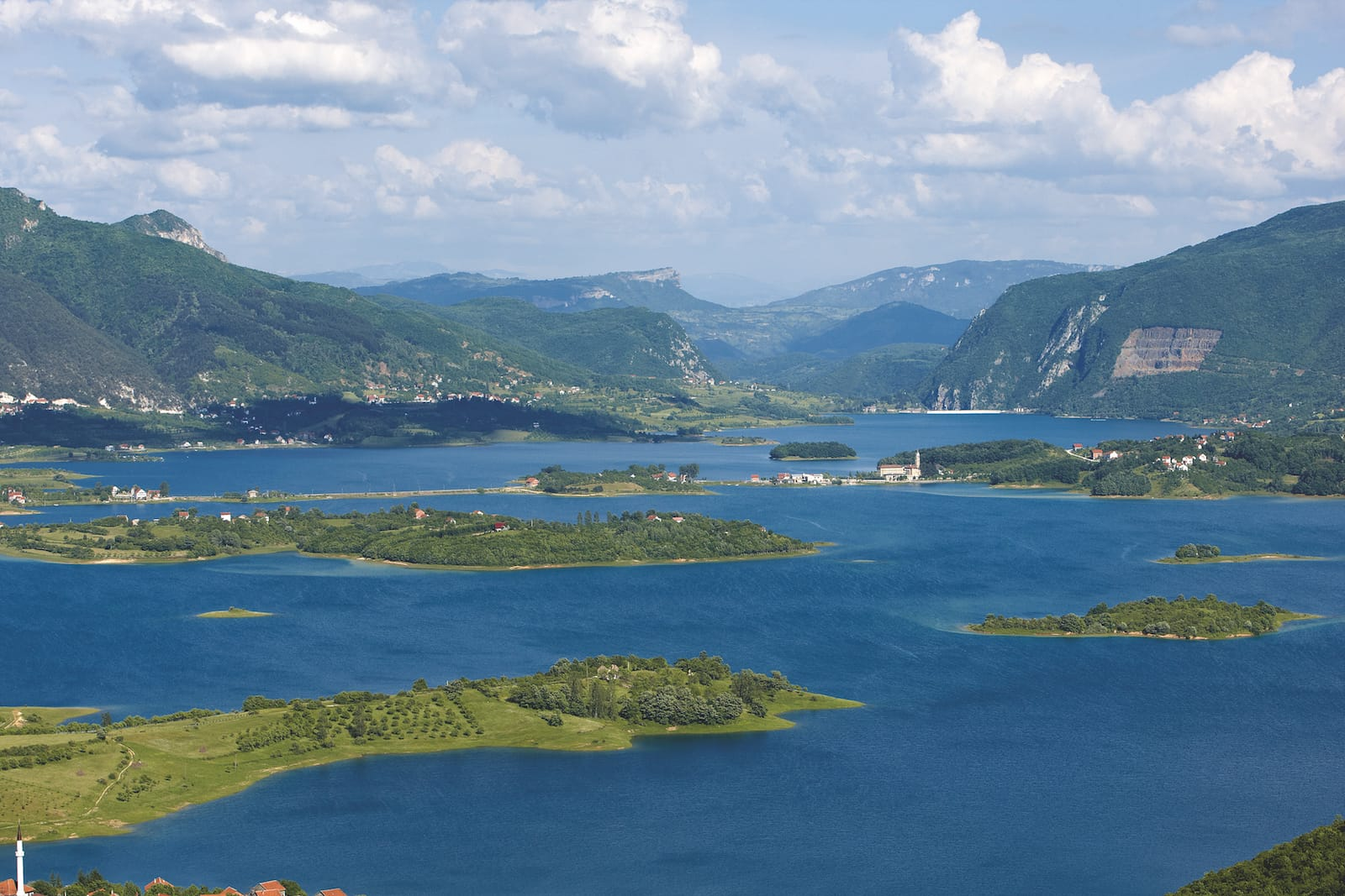 lake with multitude of islands and peninsulae near Prozor, bosnia