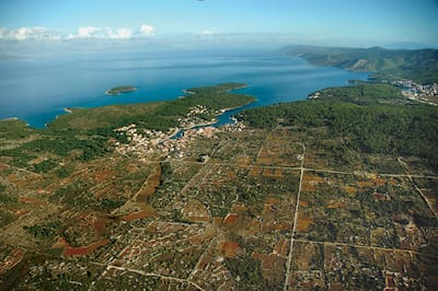aerial view of and mediterranean island