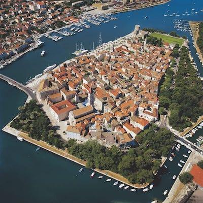 arial view of a mediterranean island town